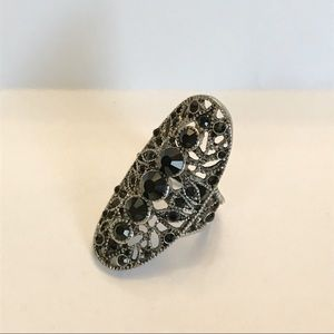 Large black stone metal ring